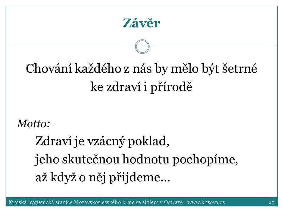 27Krajská hygienická stanice Moravskoslezského kraje se sídlem v Ostravě | www.khsova.cz Závěr Chování každého z nás by mělo být šetrné ke zdraví i př