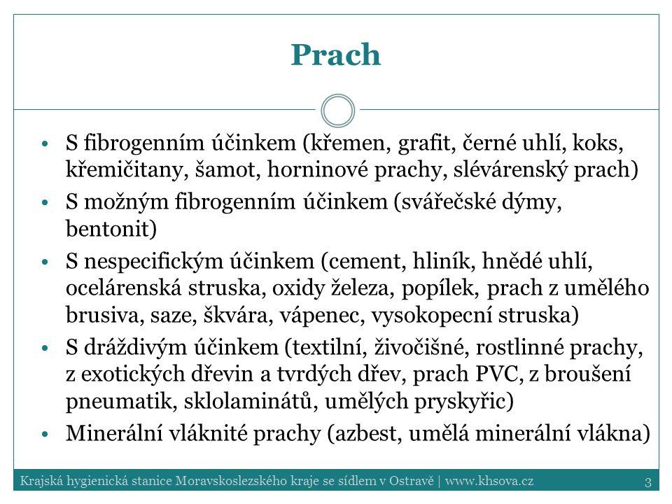 3Krajská hygienická stanice Moravskoslezského kraje se sídlem v Ostravě | www.khsova.cz Prach S fibrogenním účinkem (křemen, grafit, černé uhlí, koks,