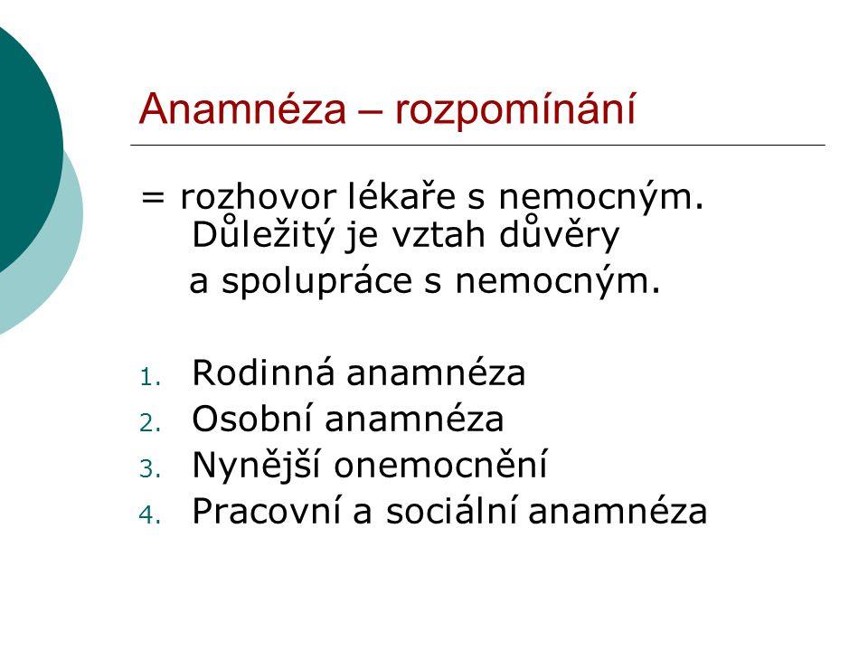 Anamnéza – rozpomínání = rozhovor lékaře s nemocným. Důležitý je vztah důvěry a spolupráce s nemocným. 1. Rodinná anamnéza 2. Osobní anamnéza 3. Nyněj
