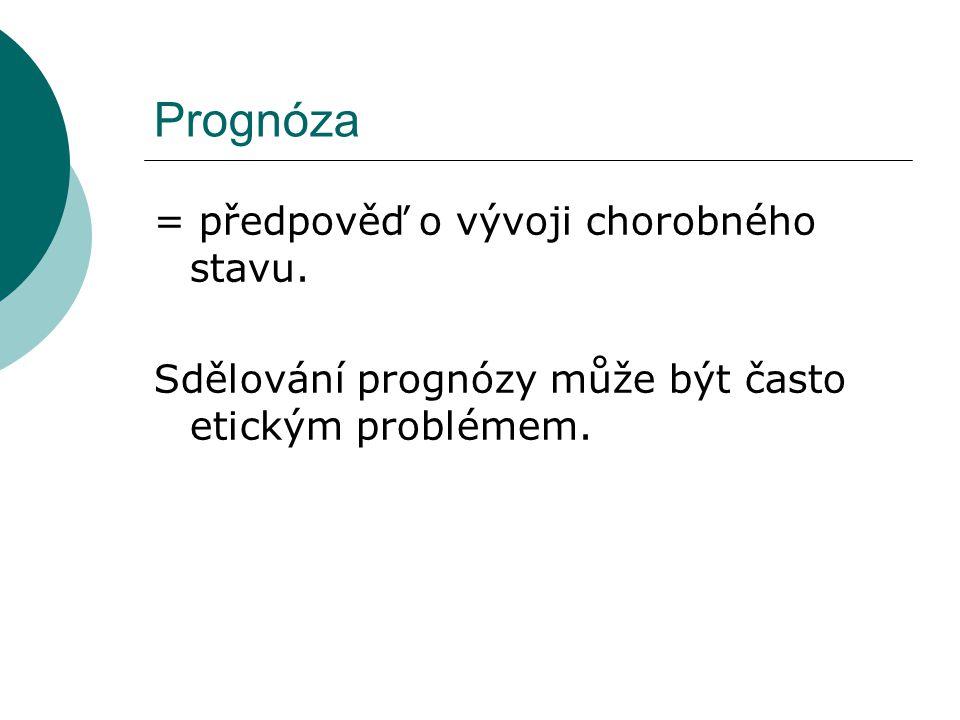 Prognóza = předpověď o vývoji chorobného stavu. Sdělování prognózy může být často etickým problémem.