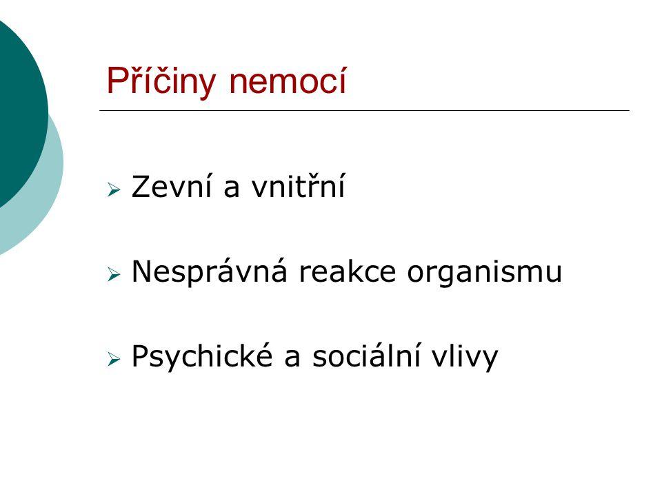 Příčiny nemocí  Zevní a vnitřní  Nesprávná reakce organismu  Psychické a sociální vlivy