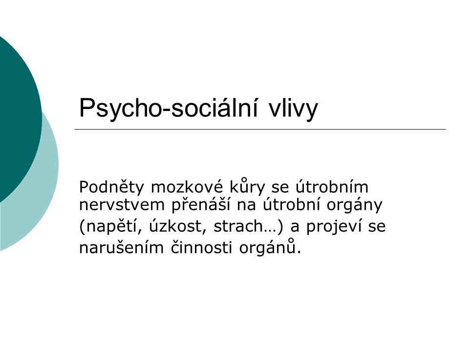 Psycho-sociální vlivy Podněty mozkové kůry se útrobním nervstvem přenáší na útrobní orgány (napětí, úzkost, strach…) a projeví se narušením činnosti orgánů.