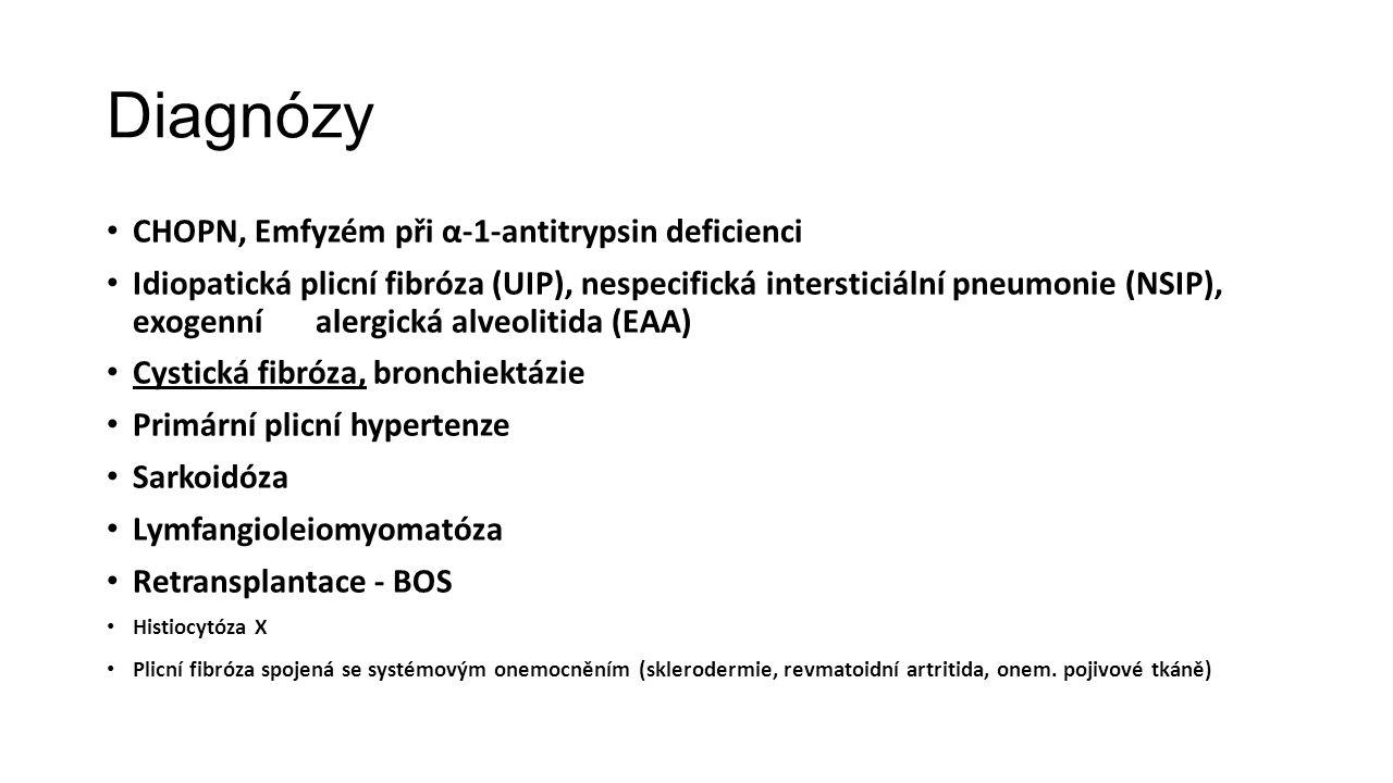 Diagnózy CHOPN, Emfyzém při α-1-antitrypsin deficienci Idiopatická plicní fibróza (UIP), nespecifická intersticiální pneumonie (NSIP), exogenní alergi