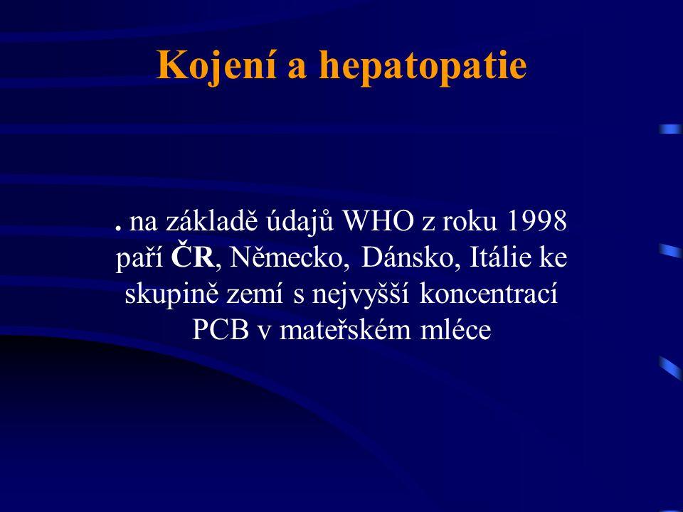 Kojení a hepatopatie. na základě údajů WHO z roku 1998 paří ČR, Německo, Dánsko, Itálie ke skupině zemí s nejvyšší koncentrací PCB v mateřském mléce