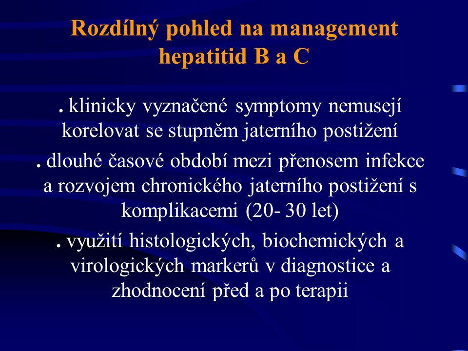 Rozdílný pohled na management hepatitid B a C. klinicky vyznačené symptomy nemusejí korelovat se stupněm jaterního postižení. dlouhé časové období mez