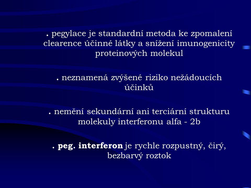 . pegylace je standardní metoda ke zpomalení clearence účinné látky a snížení imunogenicity proteinových molekul. neznamená zvýšené riziko nežádoucích