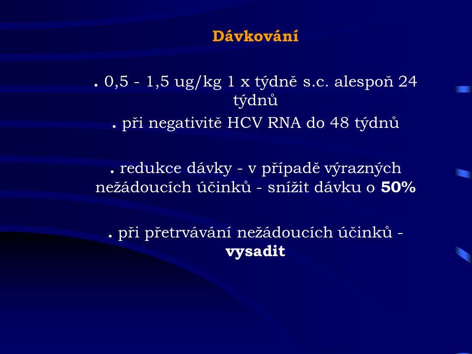 Dávkování. 0,5 - 1,5 ug/kg 1 x týdně s.c. alespoň 24 týdnů. při negativitě HCV RNA do 48 týdnů. redukce dávky - v případě výrazných nežádoucích účinků