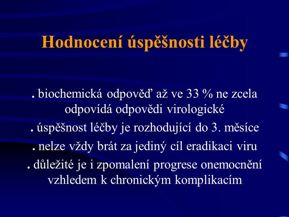 Hodnocení úspěšnosti léčby. biochemická odpověď až ve 33 % ne zcela odpovídá odpovědi virologické. úspěšnost léčby je rozhodující do 3. měsíce. nelze