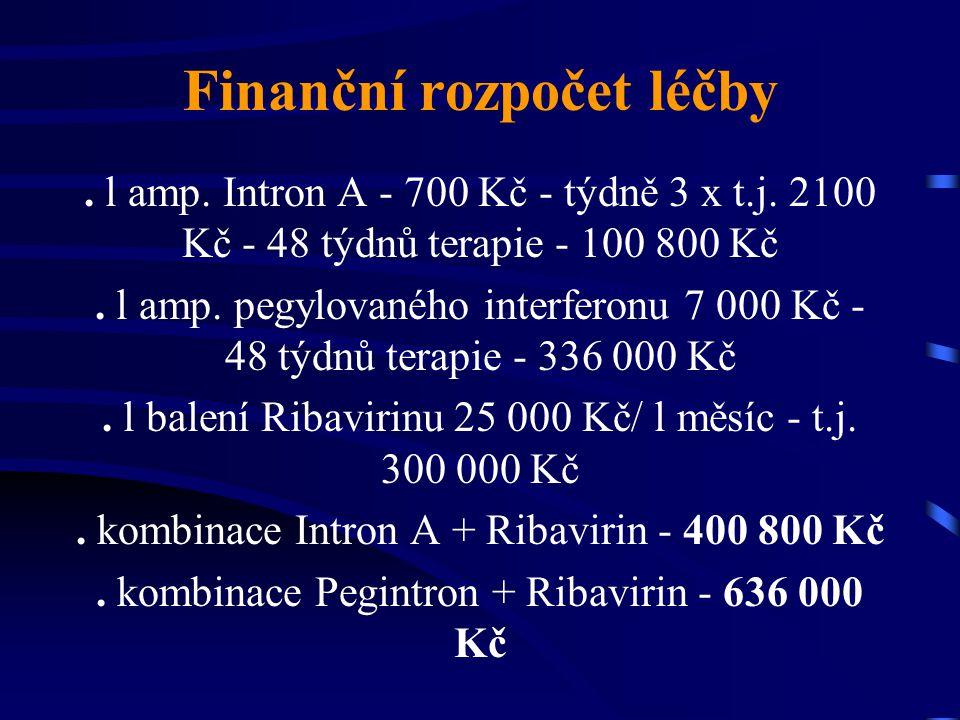 Finanční rozpočet léčby. l amp. Intron A - 700 Kč - týdně 3 x t.j. 2100 Kč - 48 týdnů terapie - 100 800 Kč. l amp. pegylovaného interferonu 7 000 Kč -