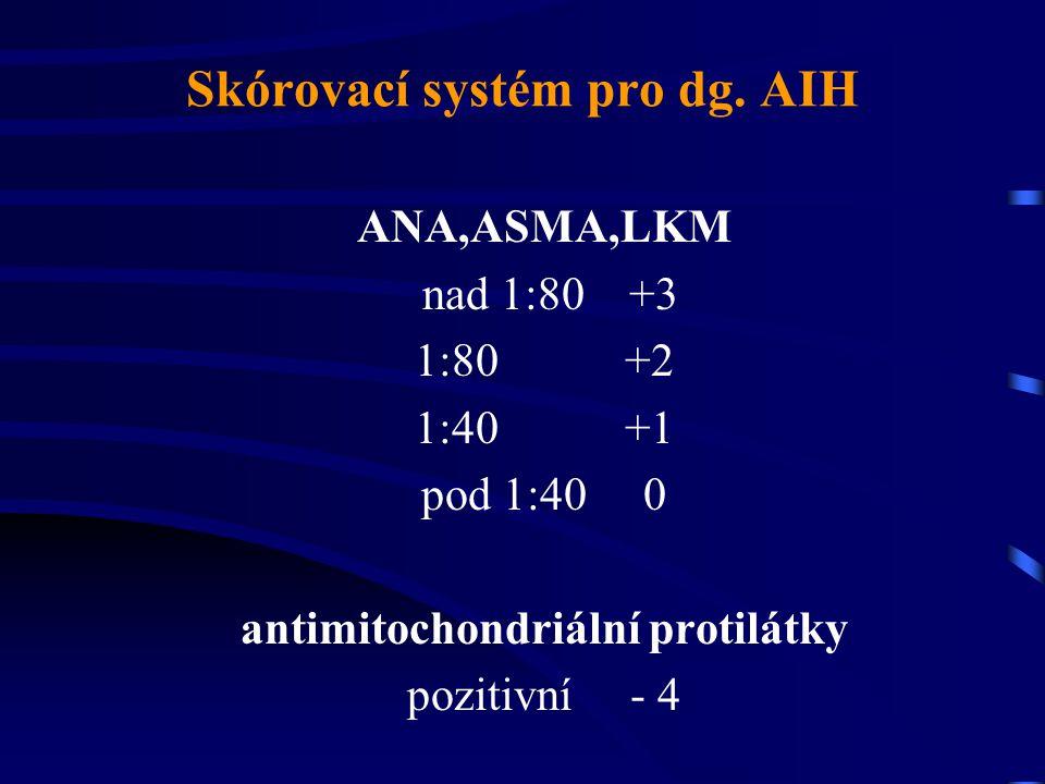 Skórovací systém pro dg. AIH ANA,ASMA,LKM nad 1:80 +3 1:80 +2 1:40 +1 pod 1:40 0 antimitochondriální protilátky pozitivní - 4