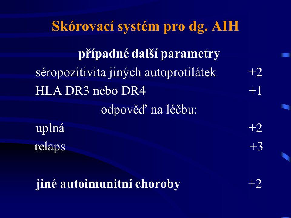Skórovací systém pro dg. AIH případné další parametry séropozitivita jiných autoprotilátek +2 HLA DR3 nebo DR4 +1 odpověď na léčbu: uplná +2 relaps +3