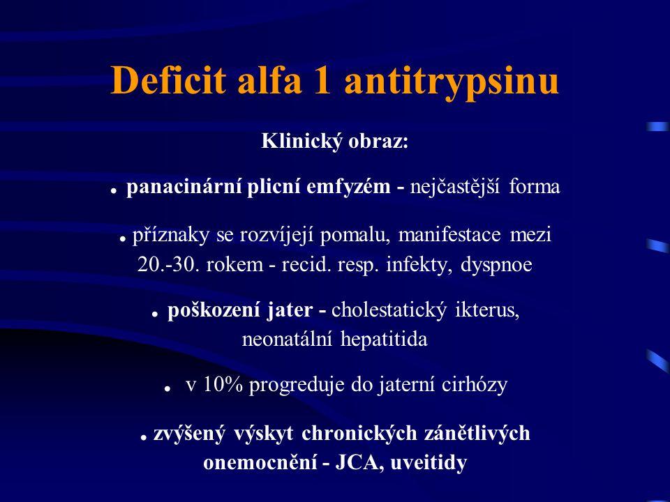 Deficit alfa 1 antitrypsinu Klinický obraz:. panacinární plicní emfyzém - nejčastější forma. příznaky se rozvíjejí pomalu, manifestace mezi 20.-30. ro