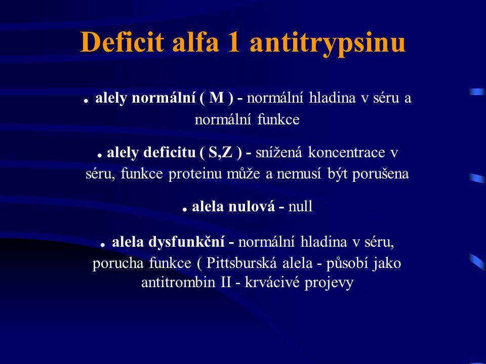 Deficit alfa 1 antitrypsinu. alely normální ( M ) - normální hladina v séru a normální funkce. alely deficitu ( S,Z ) - snížená koncentrace v séru, fu