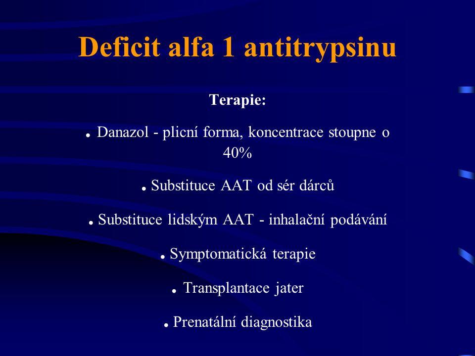 Deficit alfa 1 antitrypsinu Terapie:. Danazol - plicní forma, koncentrace stoupne o 40%. Substituce AAT od sér dárců. Substituce lidským AAT - inhalač