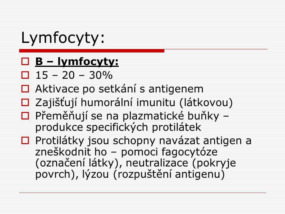 Lymfocyty:  B – lymfocyty:  15 – 20 – 30%  Aktivace po setkání s antigenem  Zajišťují humorální imunitu (látkovou)  Přeměňují se na plazmatické buňky – produkce specifických protilátek  Protilátky jsou schopny navázat antigen a zneškodnit ho – pomoci fagocytóze (označení látky), neutralizace (pokryje povrch), lýzou (rozpuštění antigenu)