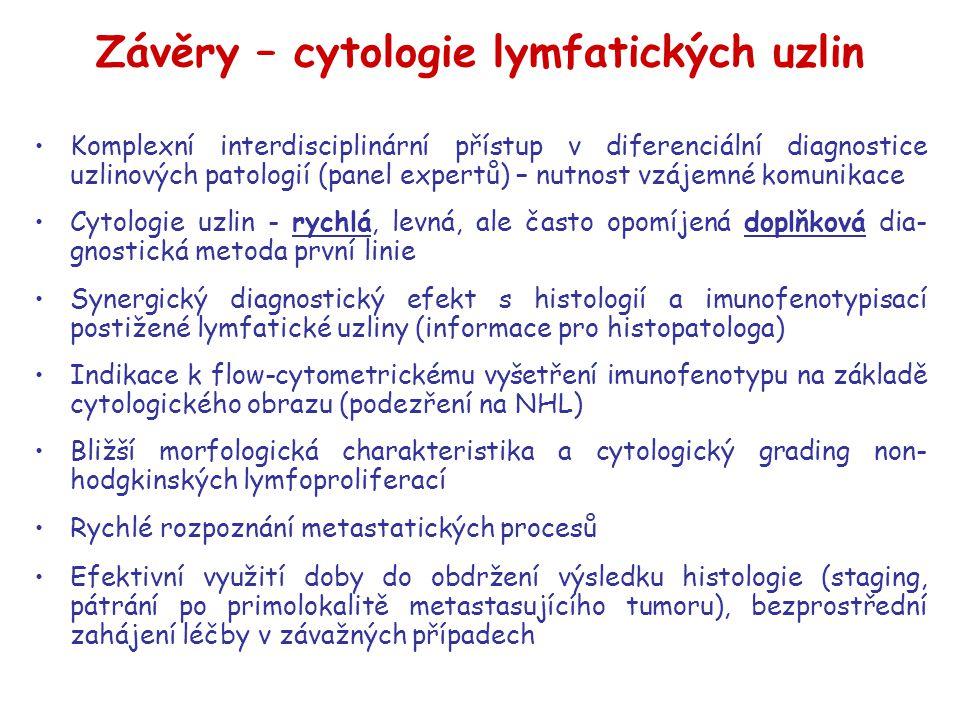 Závěry – cytologie lymfatických uzlin Komplexní interdisciplinární přístup v diferenciální diagnostice uzlinových patologií (panel expertů) – nutnost