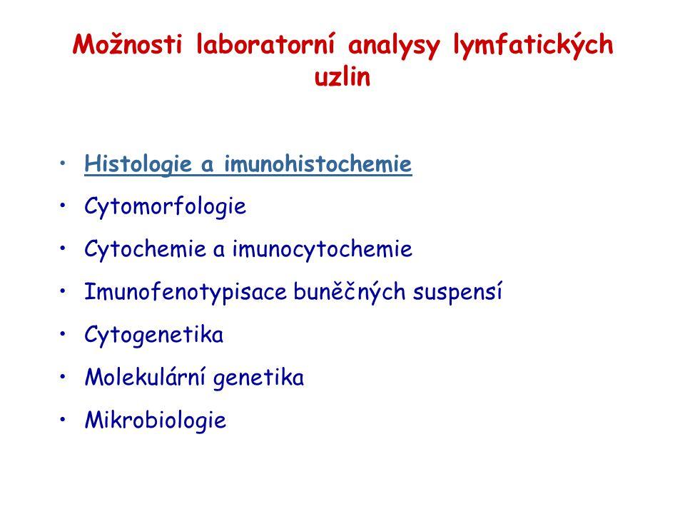 Možnosti laboratorní analysy lymfatických uzlin Histologie a imunohistochemie Cytomorfologie Cytochemie a imunocytochemie Imunofenotypisace buněčných