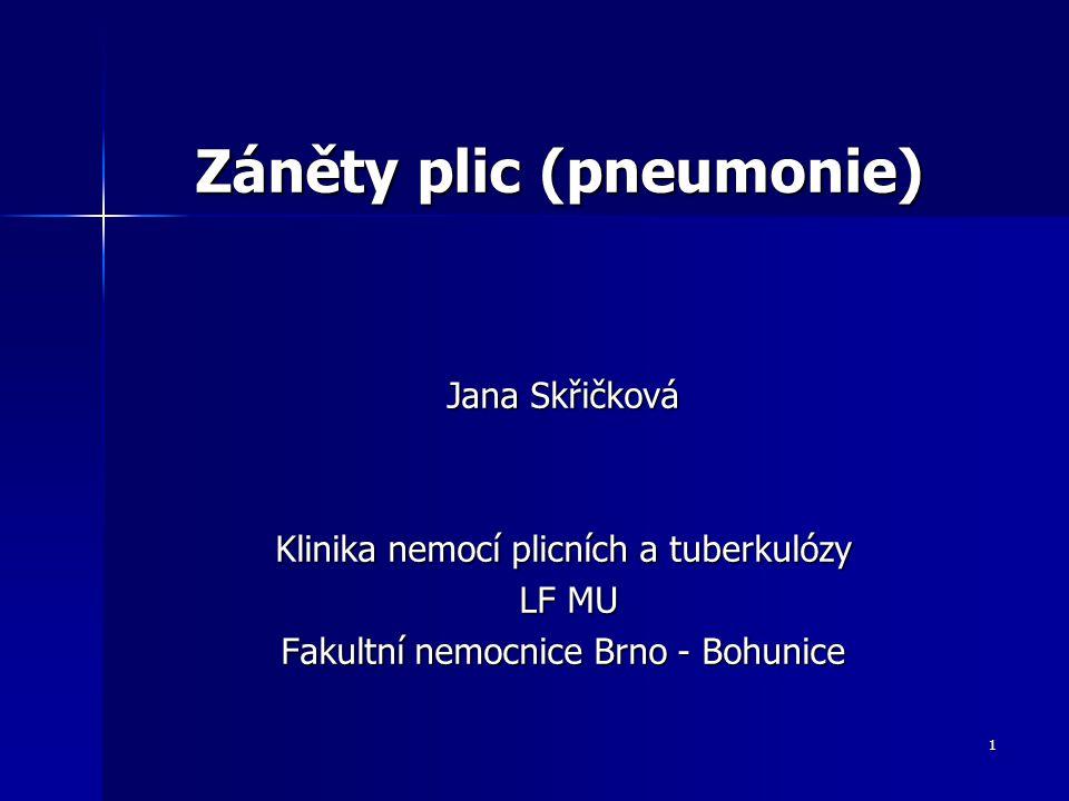 1 Záněty plic (pneumonie) Jana Skřičková Klinika nemocí plicních a tuberkulózy LF MU LF MU Fakultní nemocnice Brno - Bohunice