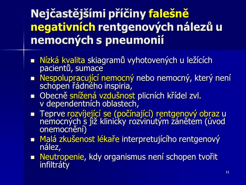11 Nejčastějšími příčiny falešně negativních rentgenových nálezů u nemocných s pneumonií Nízká kvalita skiagramů vyhotovených u ležících pacientů, sum