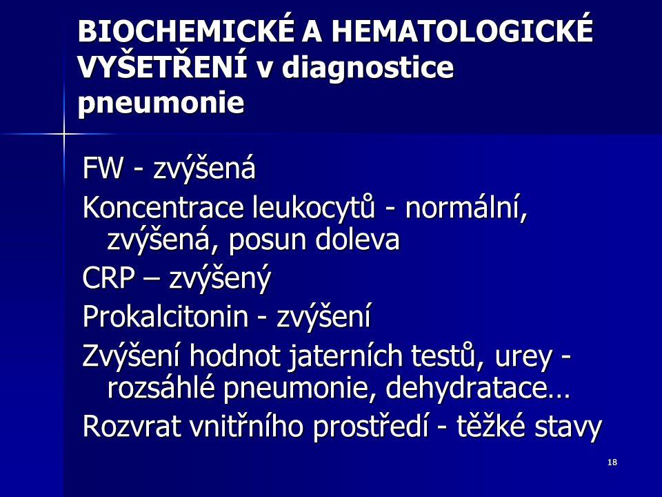18 BIOCHEMICKÉ A HEMATOLOGICKÉ VYŠETŘENÍ v diagnostice pneumonie FW - zvýšená Koncentrace leukocytů - normální, zvýšená, posun doleva CRP – zvýšený Pr