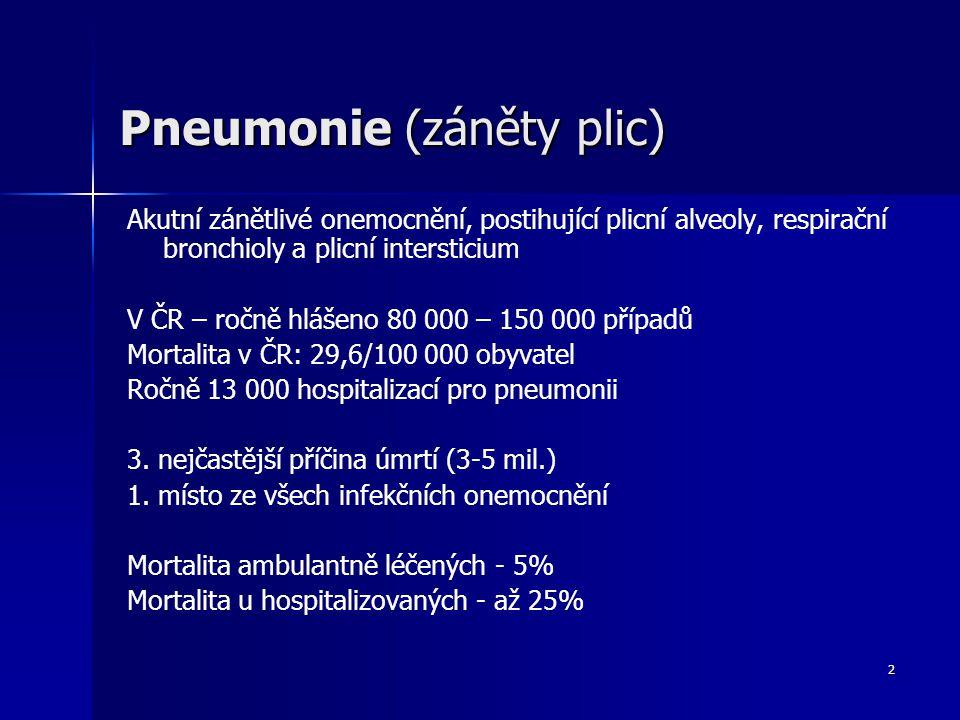 2 Pneumonie (záněty plic) Akutní zánětlivé onemocnění, postihující plicní alveoly, respirační bronchioly a plicní intersticium V ČR – ročně hlášeno 80 000 – 150 000 případů Mortalita v ČR: 29,6/100 000 obyvatel Ročně 13 000 hospitalizací pro pneumonii 3.