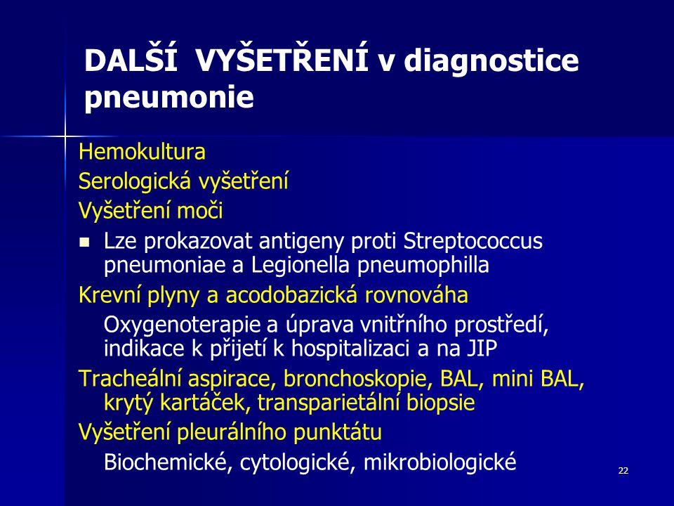 22 DALŠÍ VYŠETŘENÍ v diagnostice pneumonie Hemokultura Serologická vyšetření Vyšetření moči Lze prokazovat antigeny proti Streptococcus pneumoniae a Legionella pneumophilla Krevní plyny a acodobazická rovnováha Oxygenoterapie a úprava vnitřního prostředí, indikace k přijetí k hospitalizaci a na JIP Tracheální aspirace, bronchoskopie, BAL, mini BAL, krytý kartáček, transparietální biopsie Vyšetření pleurálního punktátu Biochemické, cytologické, mikrobiologické