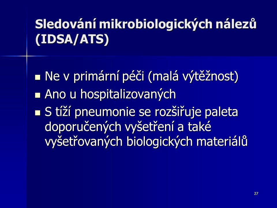 27 Sledování mikrobiologických nálezů (IDSA/ATS) Ne v primární péči (malá výtěžnost) Ne v primární péči (malá výtěžnost) Ano u hospitalizovaných Ano u hospitalizovaných S tíží pneumonie se rozšiřuje paleta doporučených vyšetření a také vyšetřovaných biologických materiálů S tíží pneumonie se rozšiřuje paleta doporučených vyšetření a také vyšetřovaných biologických materiálů