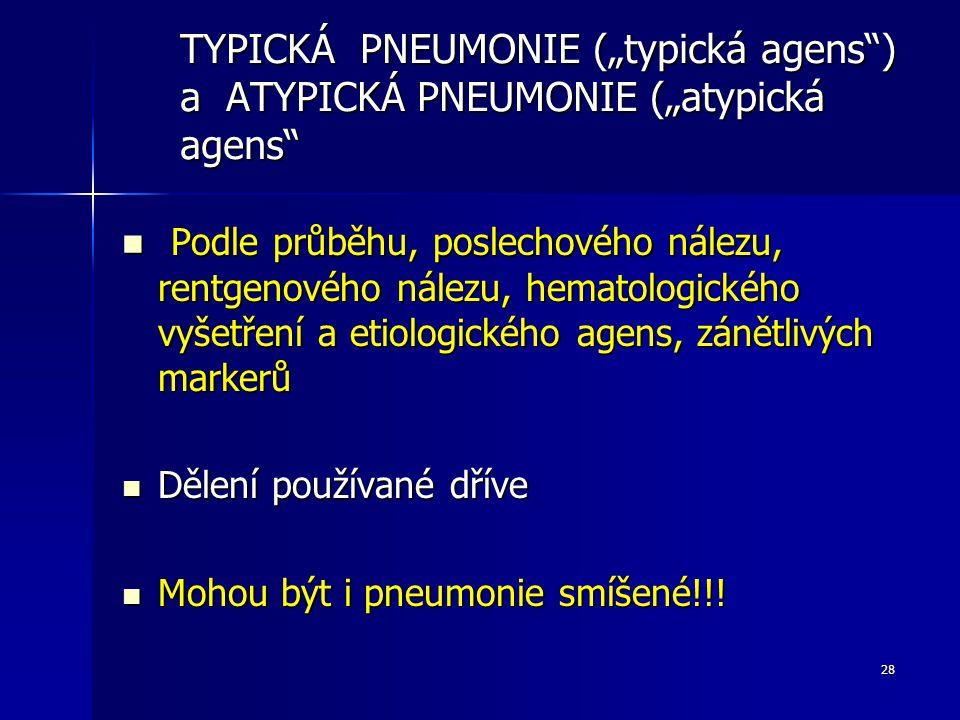 "28 TYPICKÁ PNEUMONIE (""typická agens"") a ATYPICKÁ PNEUMONIE (""atypická agens"" Podle průběhu, poslechového nálezu, rentgenového nálezu, hematologického"