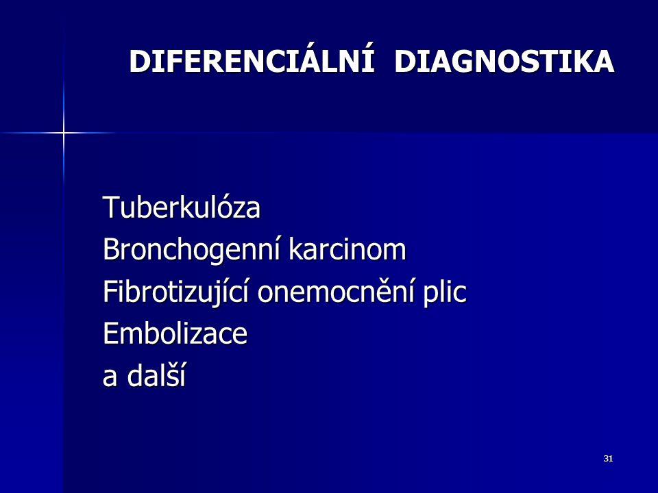 31 DIFERENCIÁLNÍ DIAGNOSTIKA Tuberkulóza Bronchogenní karcinom Fibrotizující onemocnění plic Embolizace a další