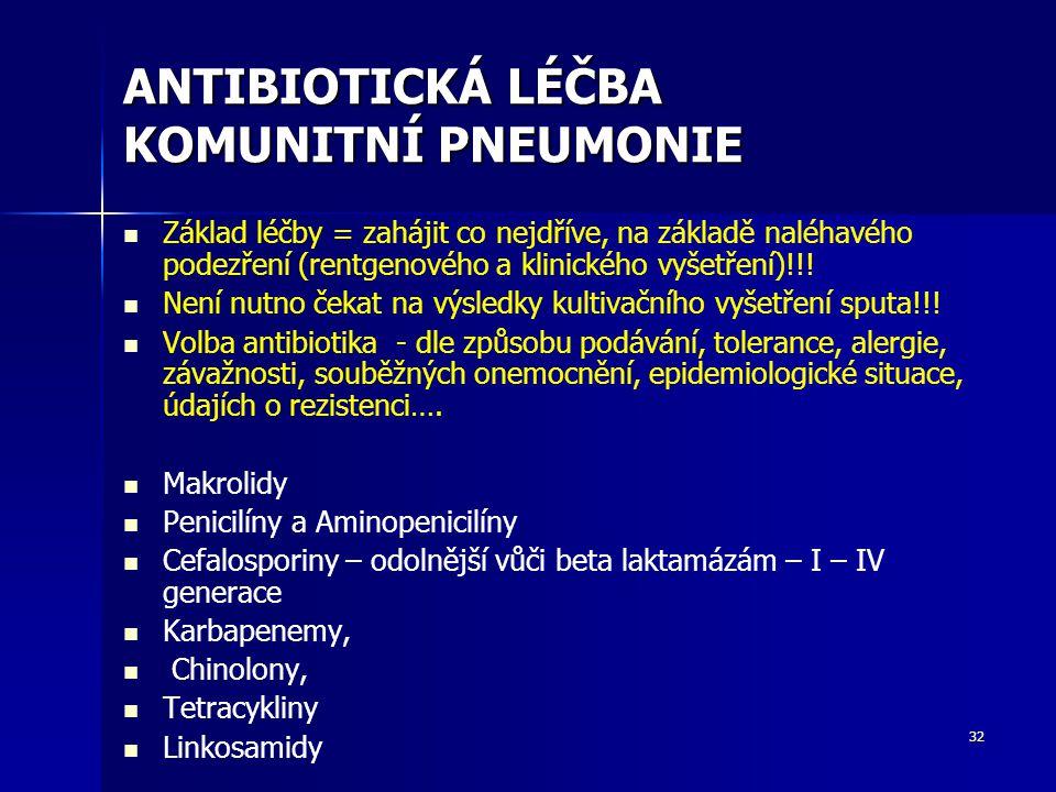 32 ANTIBIOTICKÁ LÉČBA KOMUNITNÍ PNEUMONIE Základ léčby = zahájit co nejdříve, na základě naléhavého podezření (rentgenového a klinického vyšetření)!!!