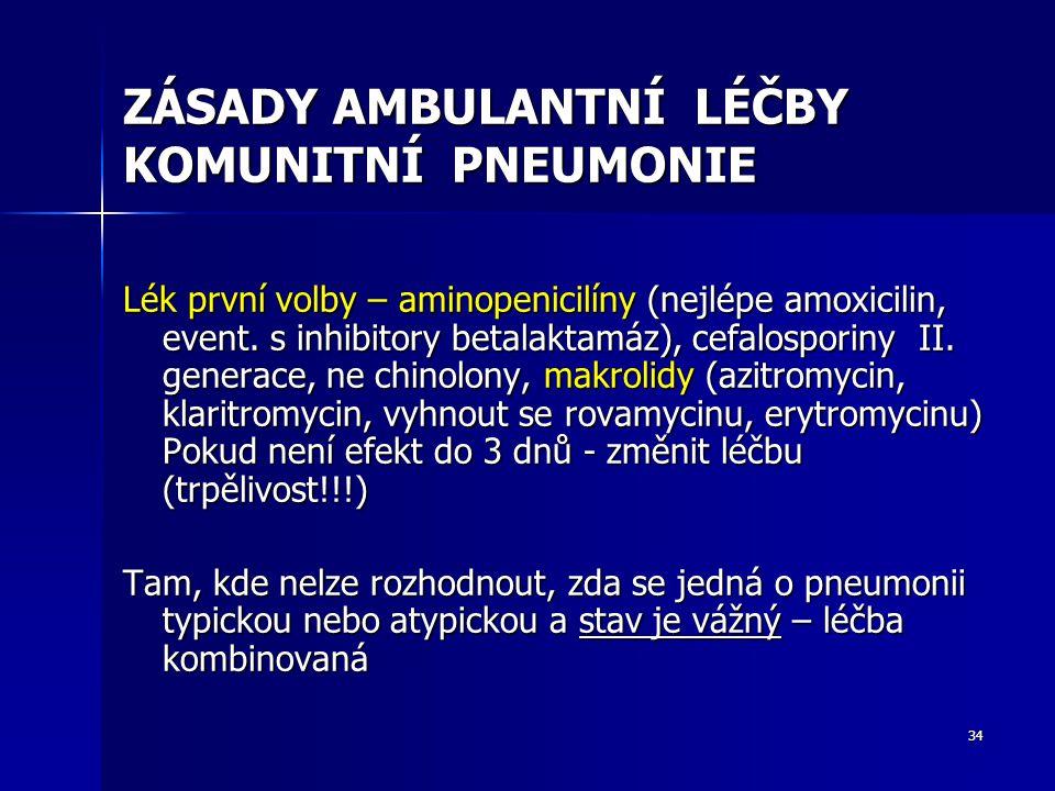 34 ZÁSADY AMBULANTNÍ LÉČBY KOMUNITNÍ PNEUMONIE Lék první volby – aminopenicilíny (nejlépe amoxicilin, event. s inhibitory betalaktamáz), cefalosporiny