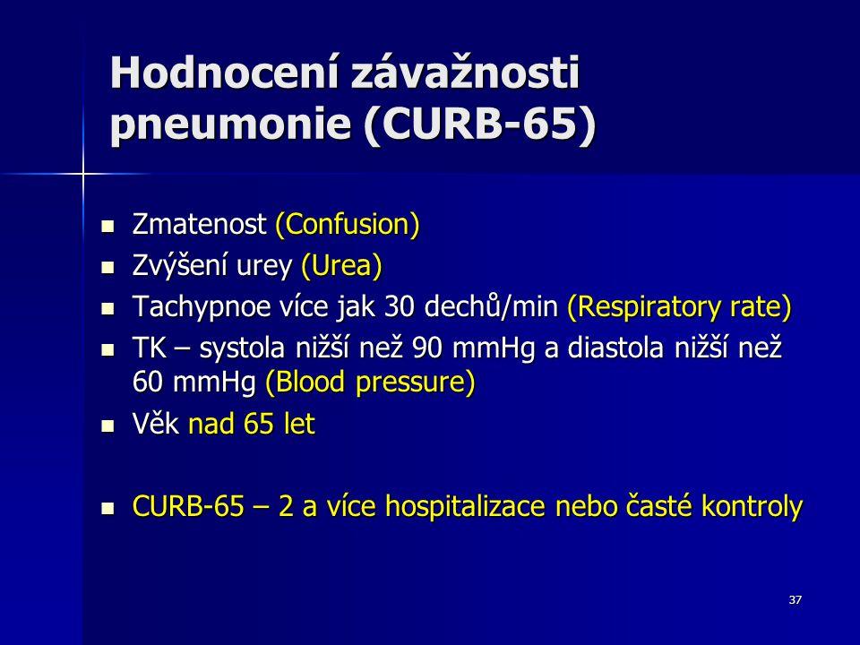 37 Hodnocení závažnosti pneumonie (CURB-65) Zmatenost (Confusion) Zmatenost (Confusion) Zvýšení urey (Urea) Zvýšení urey (Urea) Tachypnoe více jak 30 dechů/min (Respiratory rate) Tachypnoe více jak 30 dechů/min (Respiratory rate) TK – systola nižší než 90 mmHg a diastola nižší než 60 mmHg (Blood pressure) TK – systola nižší než 90 mmHg a diastola nižší než 60 mmHg (Blood pressure) Věk nad 65 let Věk nad 65 let CURB-65 – 2 a více hospitalizace nebo časté kontroly CURB-65 – 2 a více hospitalizace nebo časté kontroly