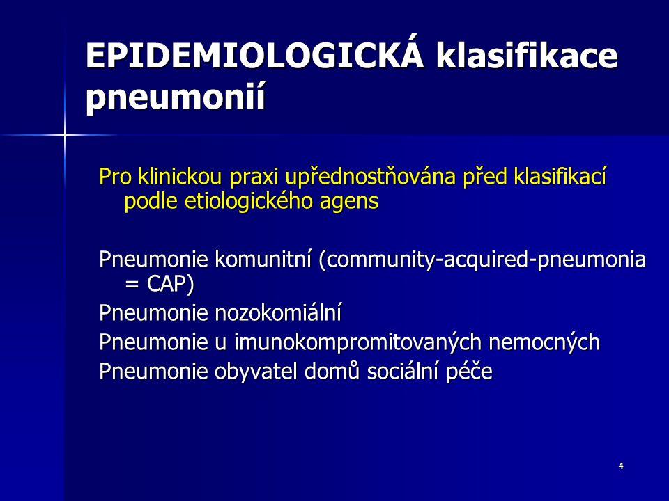 4 EPIDEMIOLOGICKÁ klasifikace pneumonií Pro klinickou praxi upřednostňována před klasifikací podle etiologického agens Pneumonie komunitní (community-acquired-pneumonia = CAP) Pneumonie nozokomiální Pneumonie u imunokompromitovaných nemocných Pneumonie obyvatel domů sociální péče