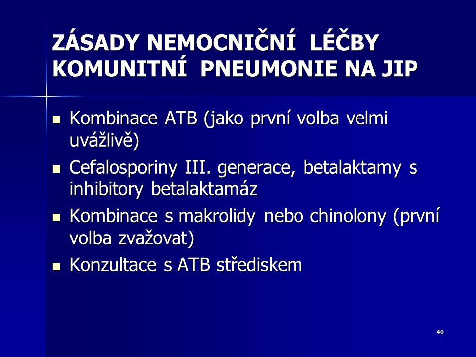 40 ZÁSADY NEMOCNIČNÍ LÉČBY KOMUNITNÍ PNEUMONIE NA JIP Kombinace ATB (jako první volba velmi uvážlivě) Kombinace ATB (jako první volba velmi uvážlivě) Cefalosporiny III.