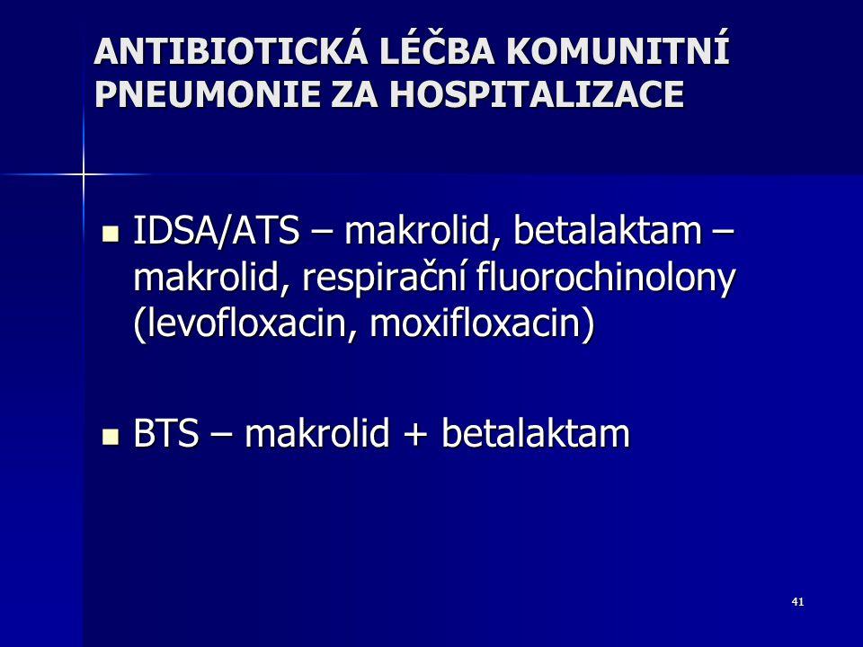 41 ANTIBIOTICKÁ LÉČBA KOMUNITNÍ PNEUMONIE ZA HOSPITALIZACE IDSA/ATS – makrolid, betalaktam – makrolid, respirační fluorochinolony (levofloxacin, moxifloxacin) IDSA/ATS – makrolid, betalaktam – makrolid, respirační fluorochinolony (levofloxacin, moxifloxacin) BTS – makrolid + betalaktam BTS – makrolid + betalaktam