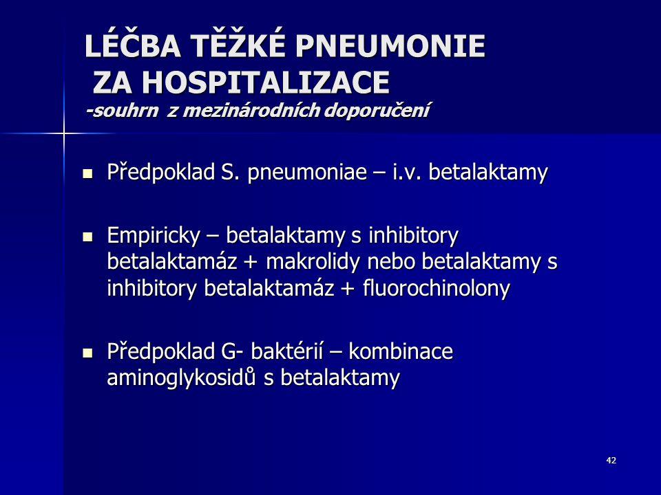 42 LÉČBA TĚŽKÉ PNEUMONIE ZA HOSPITALIZACE -souhrn z mezinárodních doporučení Předpoklad S. pneumoniae – i.v. betalaktamy Předpoklad S. pneumoniae – i.