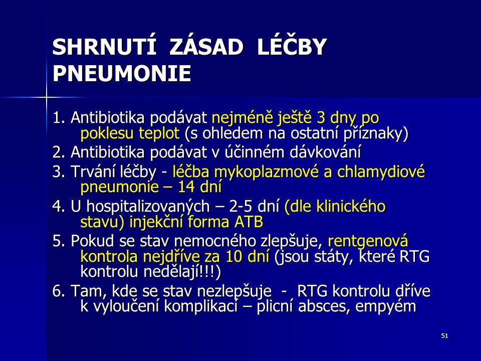 51 SHRNUTÍ ZÁSAD LÉČBY PNEUMONIE 1. Antibiotika podávat nejméně ještě 3 dny po poklesu teplot (s ohledem na ostatní příznaky) 2. Antibiotika podávat v