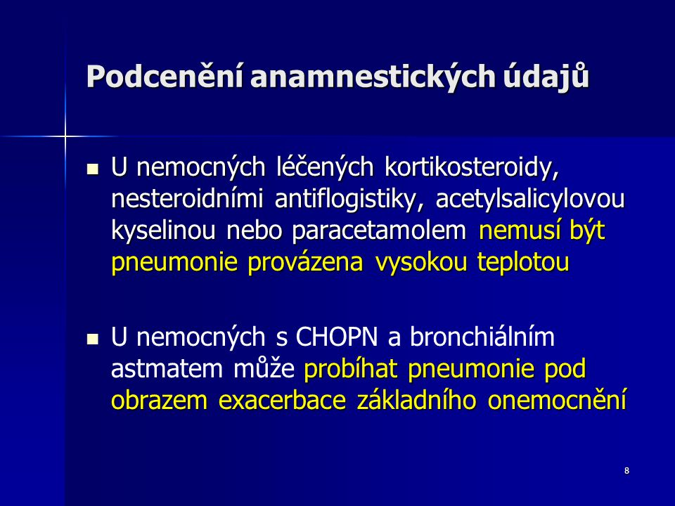 19 Chyby a omyly v interpretaci výsledků biochemických a hematologických vyšetření Zvýšení jaterních testů často provází pneumonii s těžkým průběhem Zvýšení jaterních testů často provází pneumonii s těžkým průběhem Možnost pneumonie u nemocných s normálním počtem leukocytů Možnost pneumonie u nemocných s normálním počtem leukocytů Neprovedení základního biochemického vyšetření, které může upozornit na dehydrataci, počínající rozvrat vnitřního prostředí, diabetes a tím na nutnost hospitalizace Neprovedení základního biochemického vyšetření, které může upozornit na dehydrataci, počínající rozvrat vnitřního prostředí, diabetes a tím na nutnost hospitalizace Nevyšetření krevních plynů a acidobazické rovnováhy Nevyšetření krevních plynů a acidobazické rovnováhy
