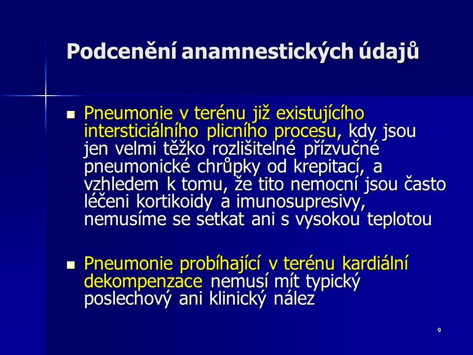 9 Podcenění anamnestických údajů Pneumonie v terénu již existujícího intersticiálního plicního procesu, kdy jsou jen velmi těžko rozlišitelné přízvučné pneumonické chrůpky od krepitací, a vzhledem k tomu, že tito nemocní jsou často léčeni kortikoidy a imunosupresivy, nemusíme se setkat ani s vysokou teplotou Pneumonie v terénu již existujícího intersticiálního plicního procesu, kdy jsou jen velmi těžko rozlišitelné přízvučné pneumonické chrůpky od krepitací, a vzhledem k tomu, že tito nemocní jsou často léčeni kortikoidy a imunosupresivy, nemusíme se setkat ani s vysokou teplotou Pneumonie probíhající v terénu kardiální dekompenzace nemusí mít typický poslechový ani klinický nález Pneumonie probíhající v terénu kardiální dekompenzace nemusí mít typický poslechový ani klinický nález