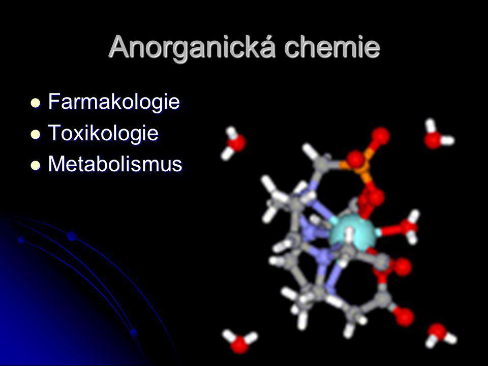 Anorganická chemie Farmakologie Farmakologie Toxikologie Toxikologie Metabolismus Metabolismus
