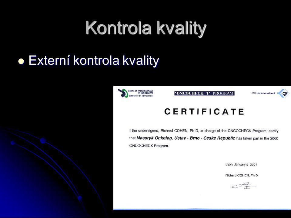 Kontrola kvality Externí kontrola kvality Externí kontrola kvality