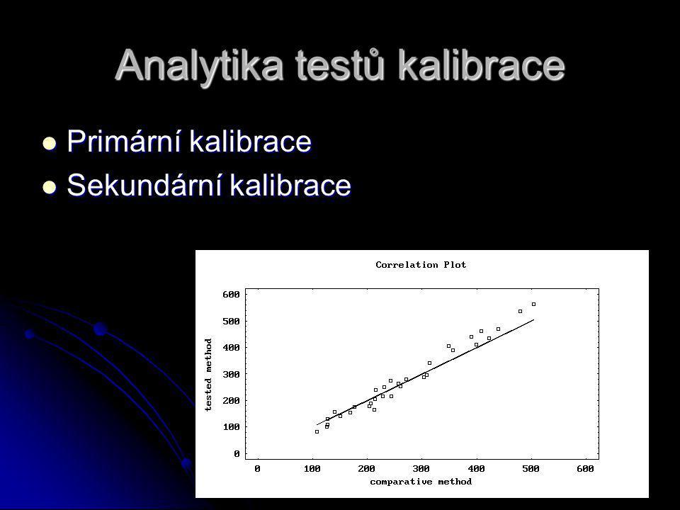 Analytika testů kalibrace Primární kalibrace Primární kalibrace Sekundární kalibrace Sekundární kalibrace