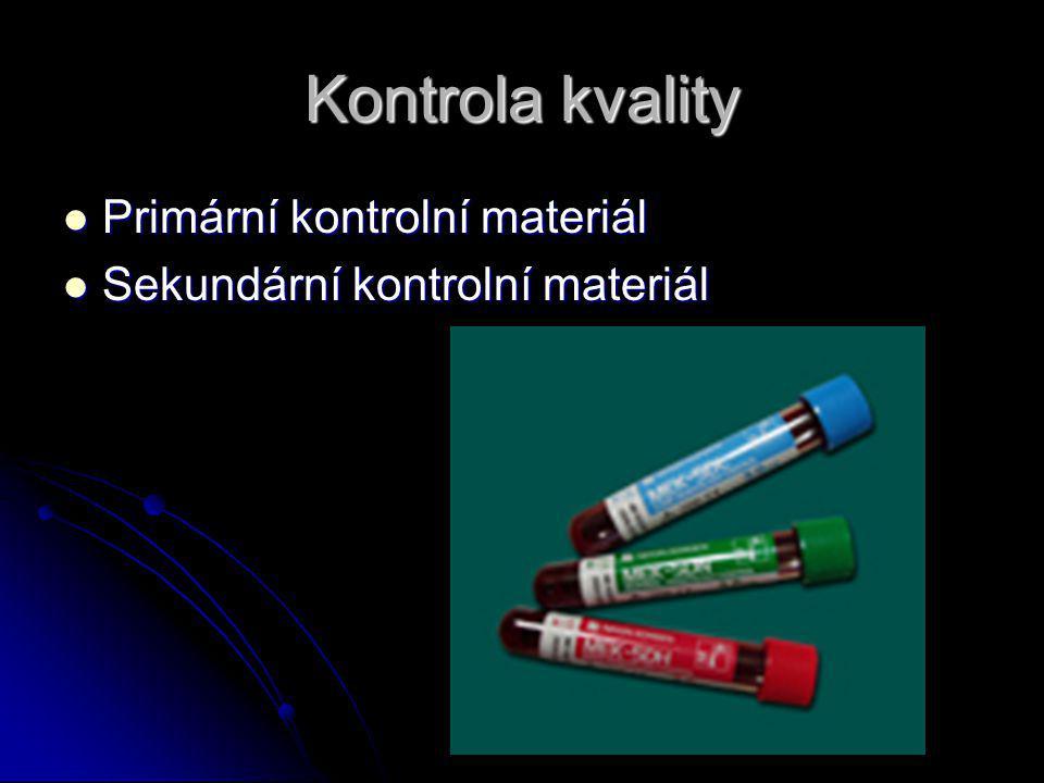 Kontrola kvality Primární kontrolní materiál Primární kontrolní materiál Sekundární kontrolní materiál Sekundární kontrolní materiál