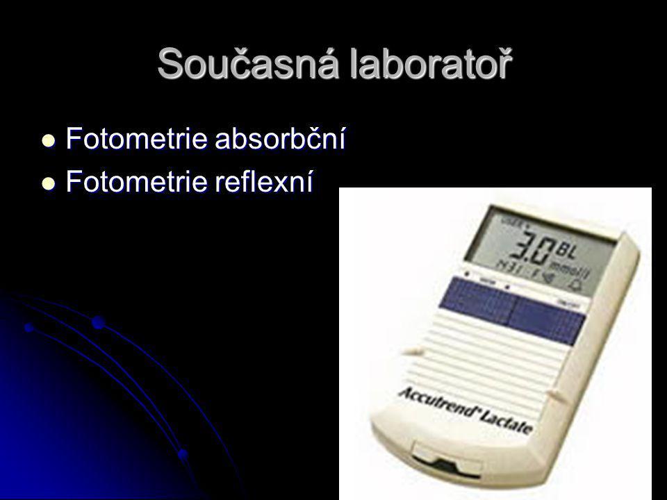 Současná laboratoř Fotometrie absorbční Fotometrie absorbční Fotometrie reflexní Fotometrie reflexní
