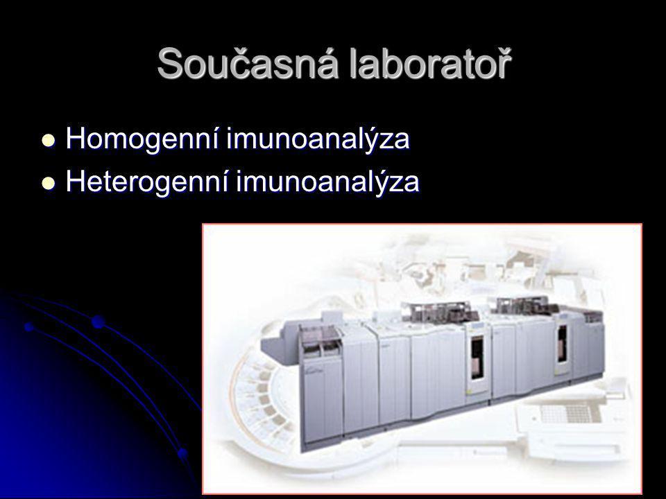Současná laboratoř Homogenní imunoanalýza Homogenní imunoanalýza Heterogenní imunoanalýza Heterogenní imunoanalýza