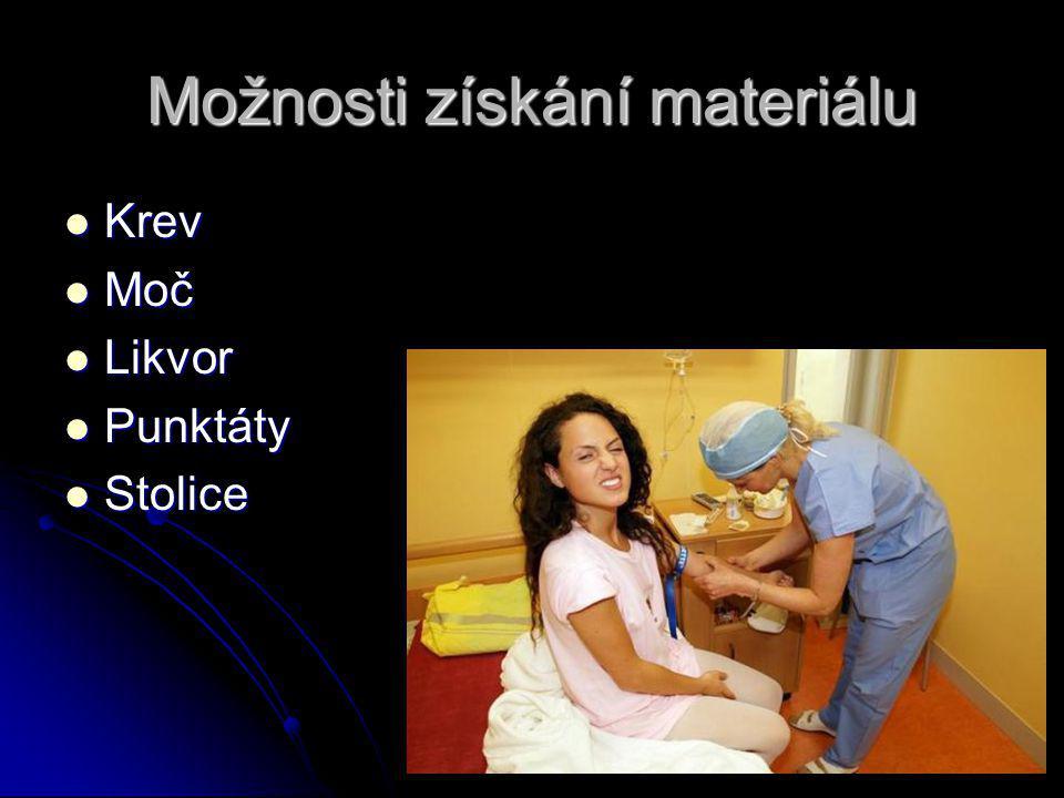 Možnosti získání materiálu Krev Krev Moč Moč Likvor Likvor Punktáty Punktáty Stolice Stolice