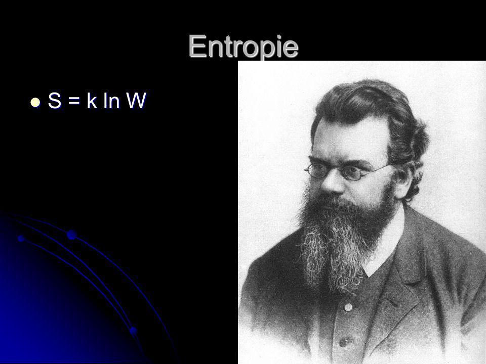 Entropie S = k ln W S = k ln W