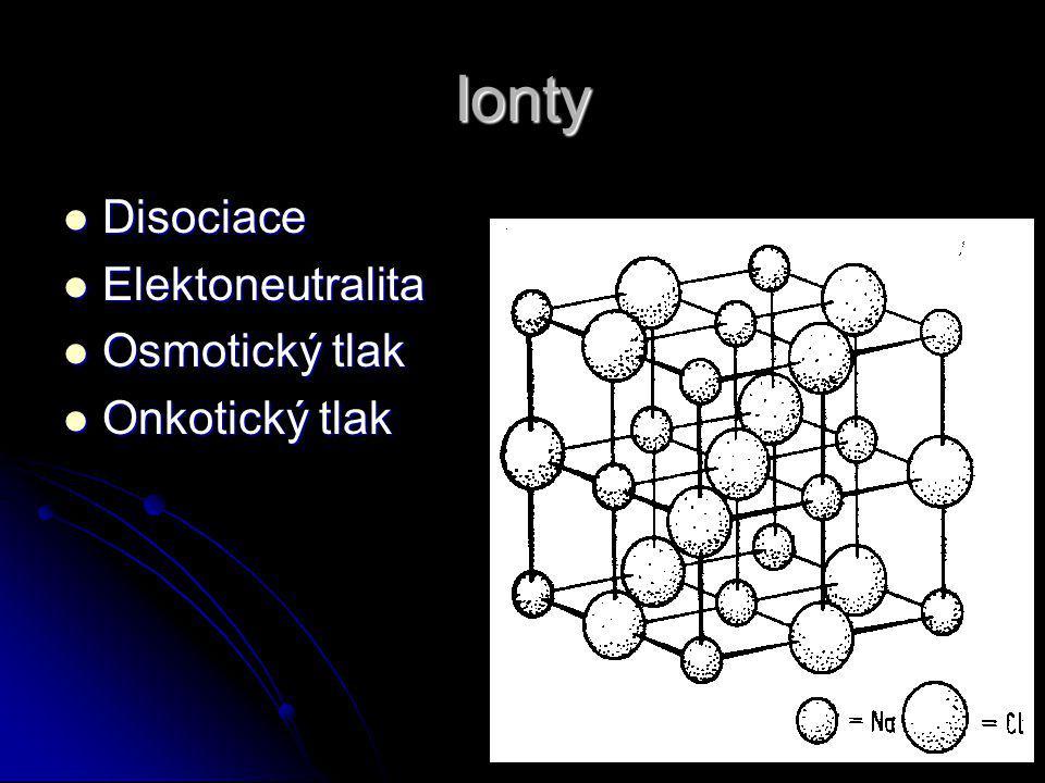 Ionty Disociace Disociace Elektoneutralita Elektoneutralita Osmotický tlak Osmotický tlak Onkotický tlak Onkotický tlak