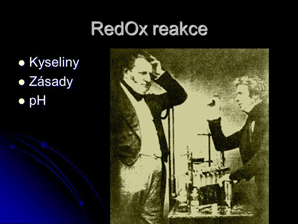 RedOx reakce Kyseliny Kyseliny Zásady Zásady pH pH