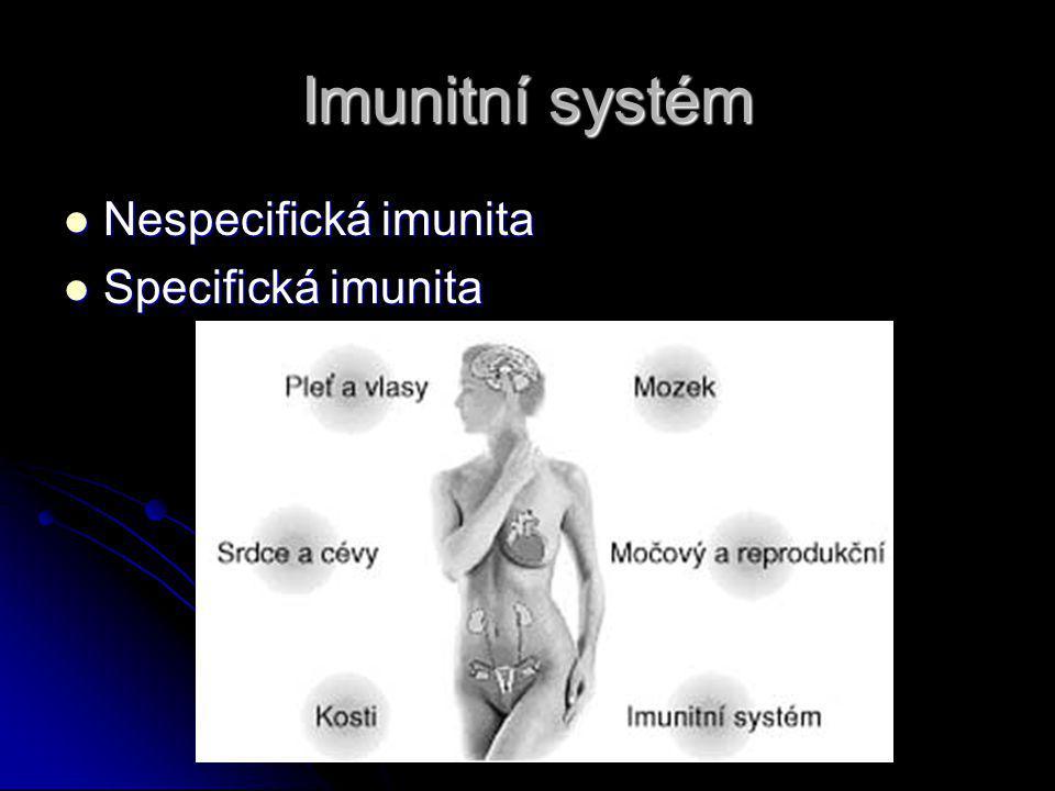 Imunitní systém Nespecifická imunita Nespecifická imunita Specifická imunita Specifická imunita